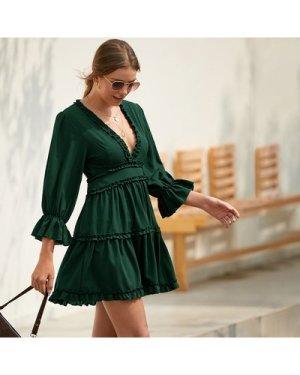 Open Back Frill Trim A-Line Dress