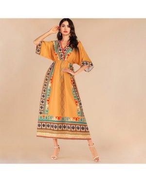 Aztec Print Elastic Waist Kimono Sleeve Maxi Dress