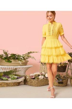 Lace Tape Shirred Waist Layered Ruffle Dress