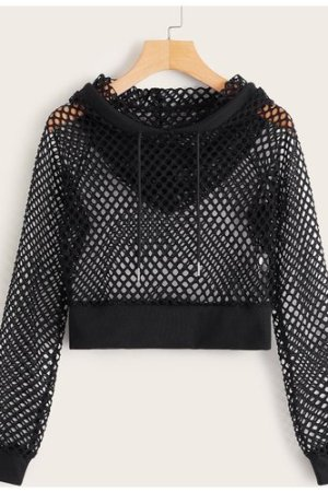 Fishnet Drawstring Hooded Sweatshirt