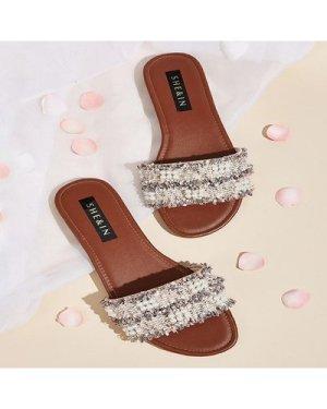 Faux Pearl Decor Tweed Flat Slippers