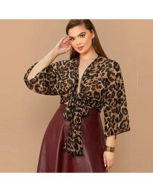 Plus Tie Front Leopard Print Top