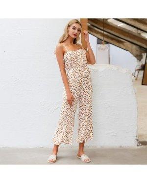 Belted Confetti Print Crop Cami Jumpsuit