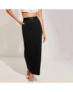 Wide Band Waist Rib-knit Pencil Skirt