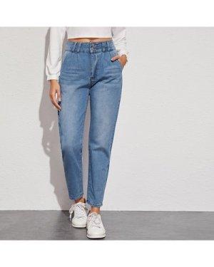 Bleach Wash High-Rise Straight Leg Jeans