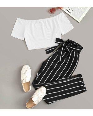 Rib-knit Bardot Crop Top & Paperbag Waist Belted Pants Set