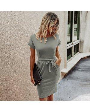 Solid Slant Pocket Belted Fitted Dress