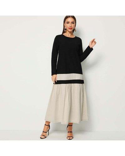 Ruffle Hem Colorblock Longline Dress