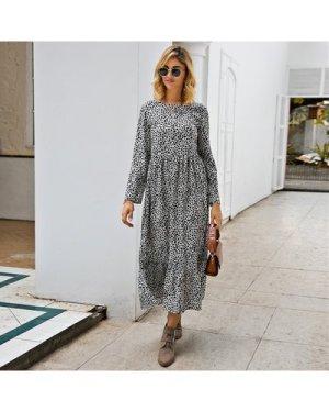 Dalmatian Print Ruffle Hem Smock Dress