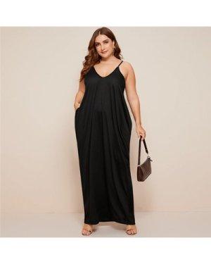 Plus Solid side Draped pocket Cami maxi dress