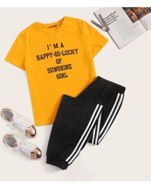 Slogan Graphic Tee and Striped Side Sweatpants Set