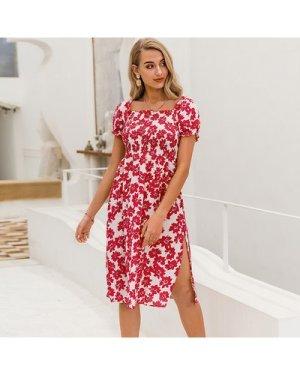 Shirred Bodice Slit Hem Floral Dress