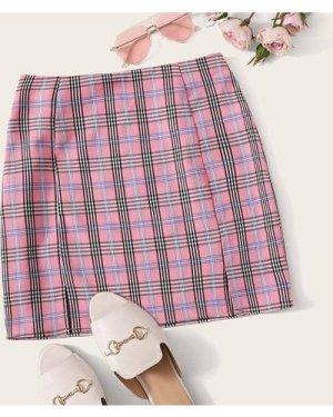 M-slit Tartan Print Skirt