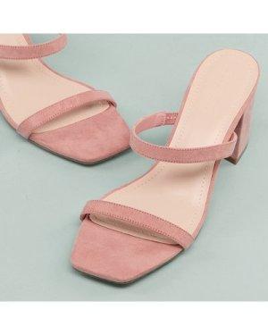 Vegan Leather Double Band Block Heels