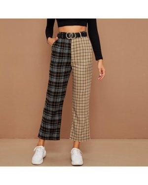 Colorblock Plaid Wide-Leg Pants