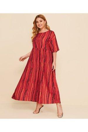 Plus Drop Shoulder Striped Smock Dress