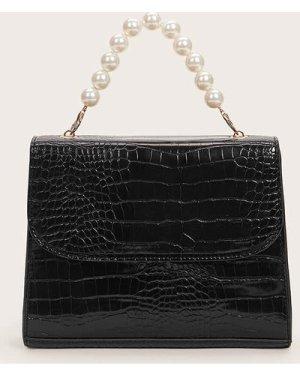 Croc Embossed Satchel Bag With Faux Pearl Handle