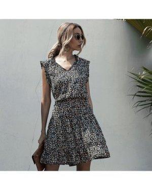 Ditsy Floral Frill Trim A-line Dress