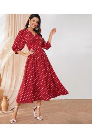 Polka Dot Wide Waistband Button Detail Dress