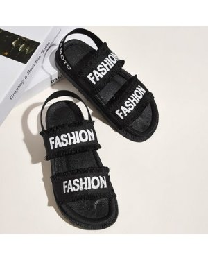 Letter Graphic Chunky Sole Slingback Sandals