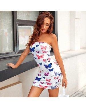 Butterfly Print Tube Bodycon Dress