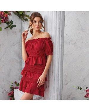 Ruffle Hem Shirred Top & Layered Skirt Set