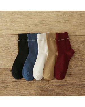 6pairs Simple Solid Socks