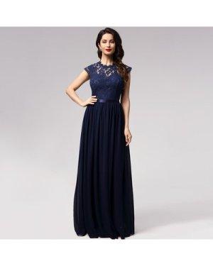 Floral Lace Bodice Ribbon Waist Prom Dress