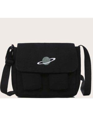 Embroidered Planet Pocket Front Crossbody Bag