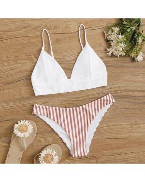 Striped Triangle Bikini Swimsuit