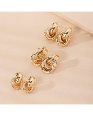 3pairs Textured Metal Earrings