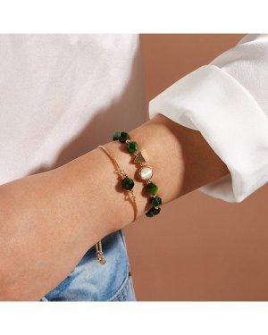 2pcs Raw Stone & Triangle Decor Bracelet