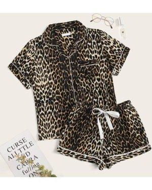 Leopard Print Drawstring Waist PJ Set