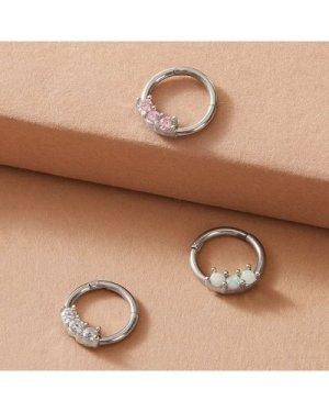 3pcs Rhinestone Decor Nose Ring