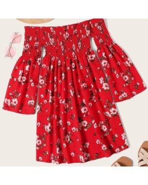 Plus Floral Print Shirred Dress