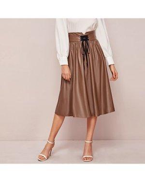 Lace-up Detail Notch Wide Waistband PU Skirt