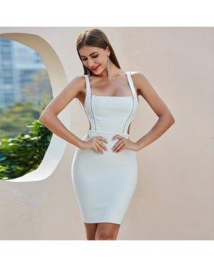 Zipper Front Cutout Detail Bandage Dress