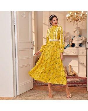 Mock-neck Guipure Lace Trim Floral Print Dress