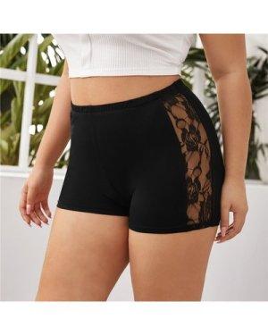Plus Contrast Lace Biker Shorts