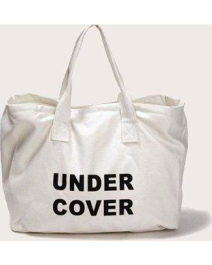 Slogan Print Canvas Tote Bag