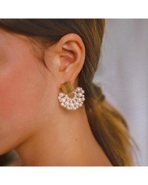Square Decor Fan Shaped Faux Pearl Stud Earrings 1pair