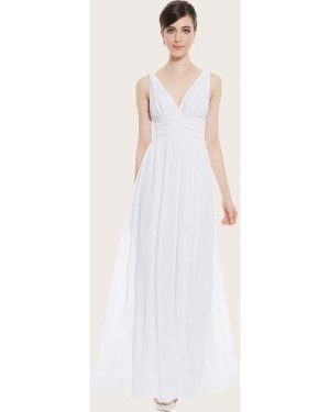 Double V Neck Ruched Wide Waistband Prom Dress