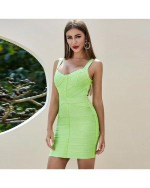 Neon Green Zip Back Bustier Bandage Dress