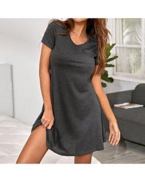 Pocket Patched V-neck Night Dress
