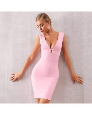 Plunge Neck Backless Bodycon Dress