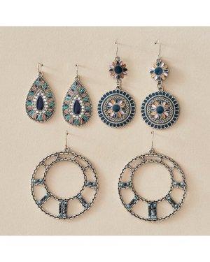 3pairs Bohemian Flower & Water Drop Earrings
