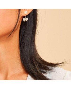 Faux Pearl Decor Bow Stud Earrings 1pair
