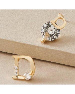 1pair Rhinestone Decor Letter Decor Earrings
