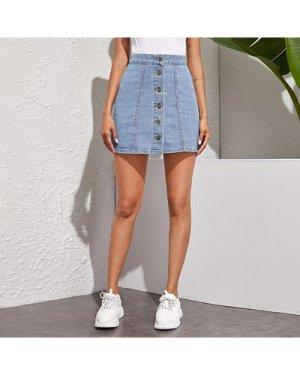Button Through Straight Denim Skirt