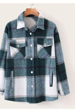 Curved Hem Pocket Plaid Button Through Coat